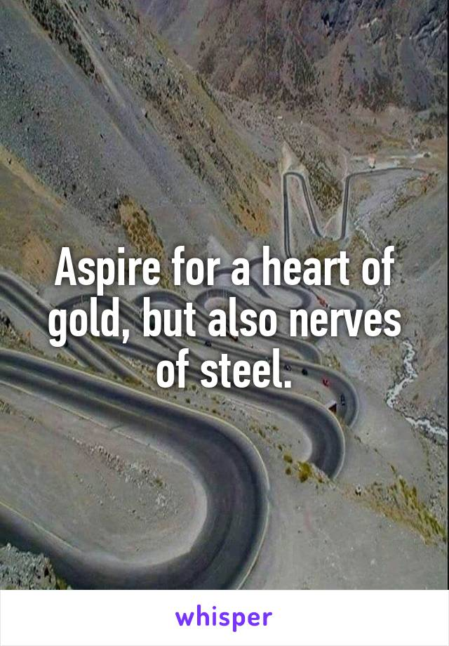 Aspire for a heart of gold, but also nerves of steel.