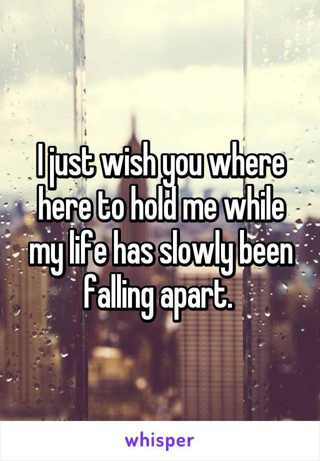 I just wish you where here to hold me while my life has slowly been falling apart.