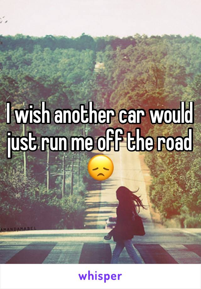 I wish another car would just run me off the road 😞
