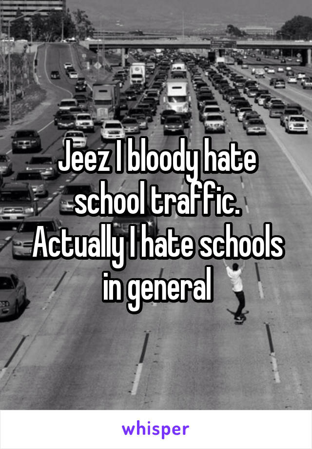 Jeez I bloody hate school traffic. Actually I hate schools in general