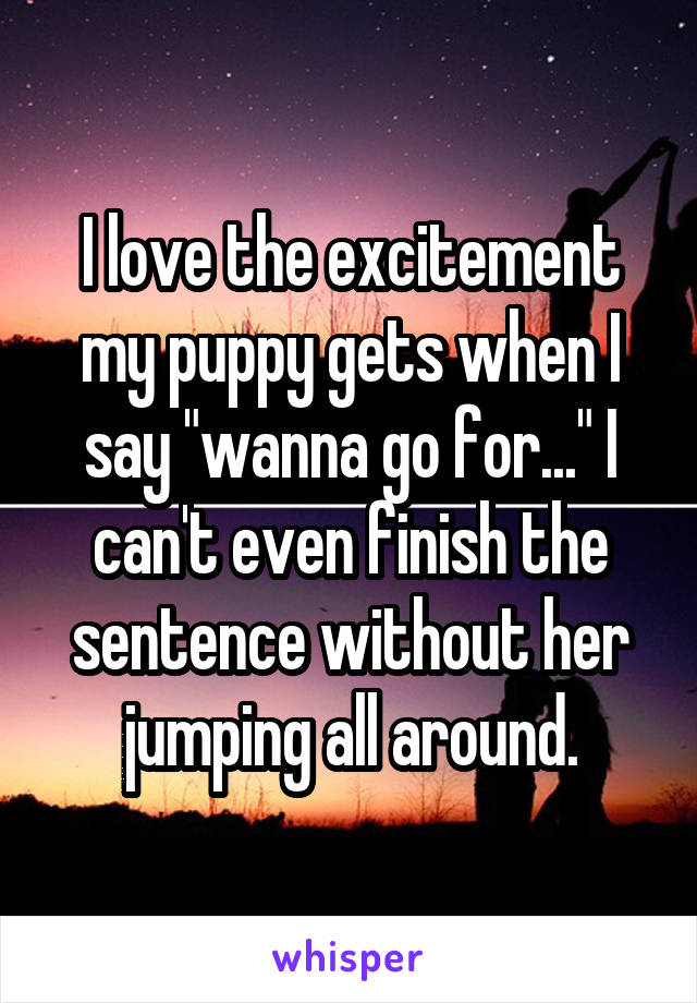 "I love the excitement my puppy gets when I say ""wanna go for..."" I can't even finish the sentence without her jumping all around."
