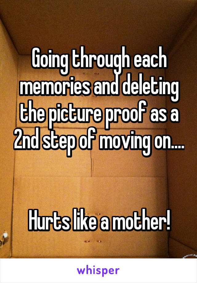Going through each memories and deleting the picture proof as a 2nd step of moving on....   Hurts like a mother!