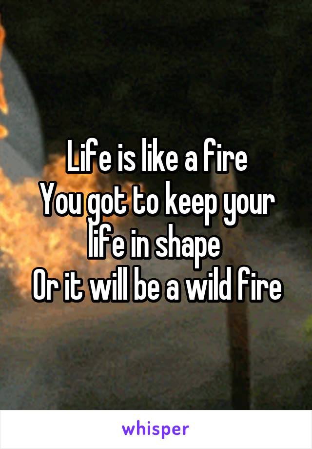 Life is like a fire You got to keep your life in shape  Or it will be a wild fire