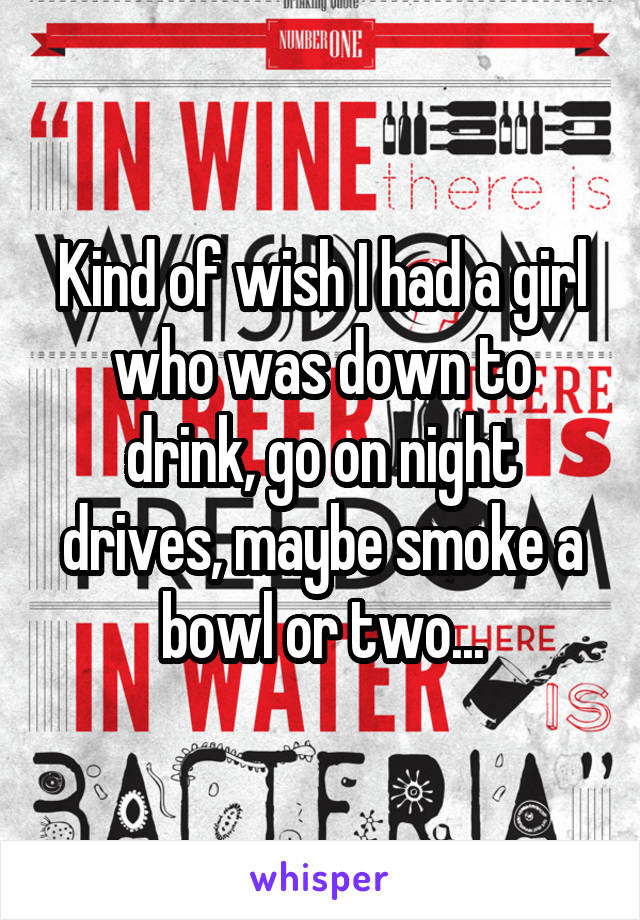 Kind of wish I had a girl who was down to drink, go on night drives, maybe smoke a bowl or two...