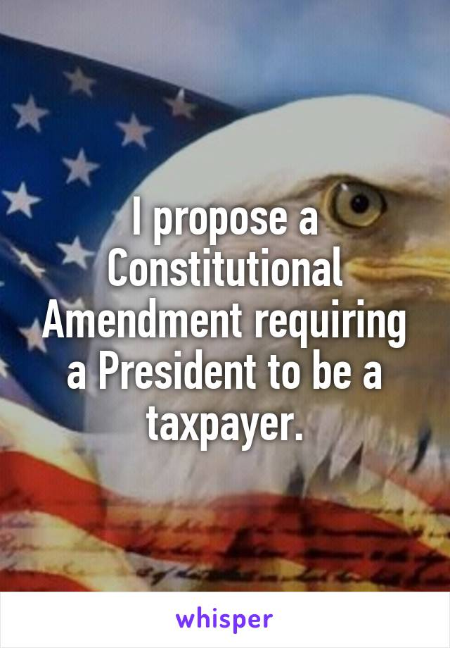 I propose a Constitutional Amendment requiring a President to be a taxpayer.