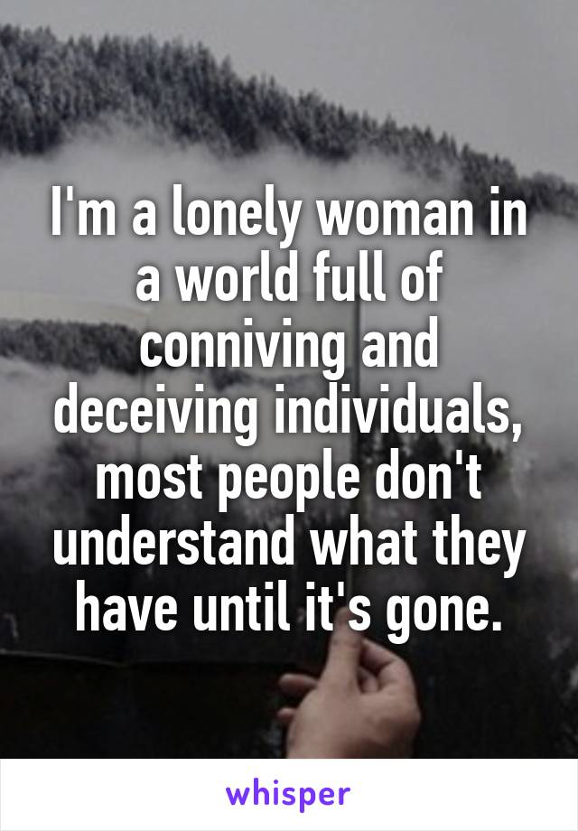 I'm a lonely woman in a world full of conniving and deceiving individuals, most people don't understand what they have until it's gone.