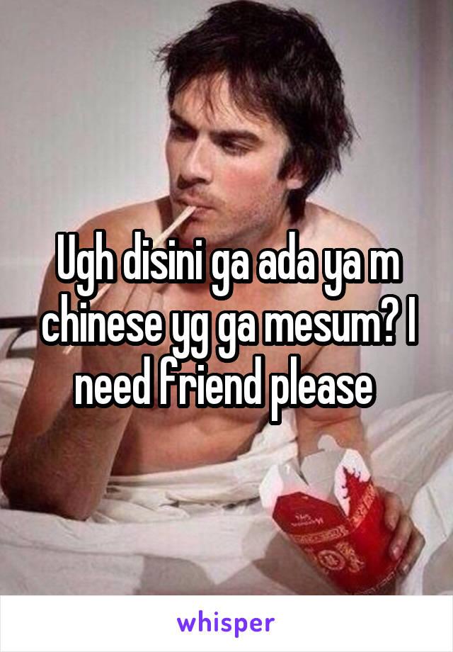 Ugh disini ga ada ya m chinese yg ga mesum? I need friend please