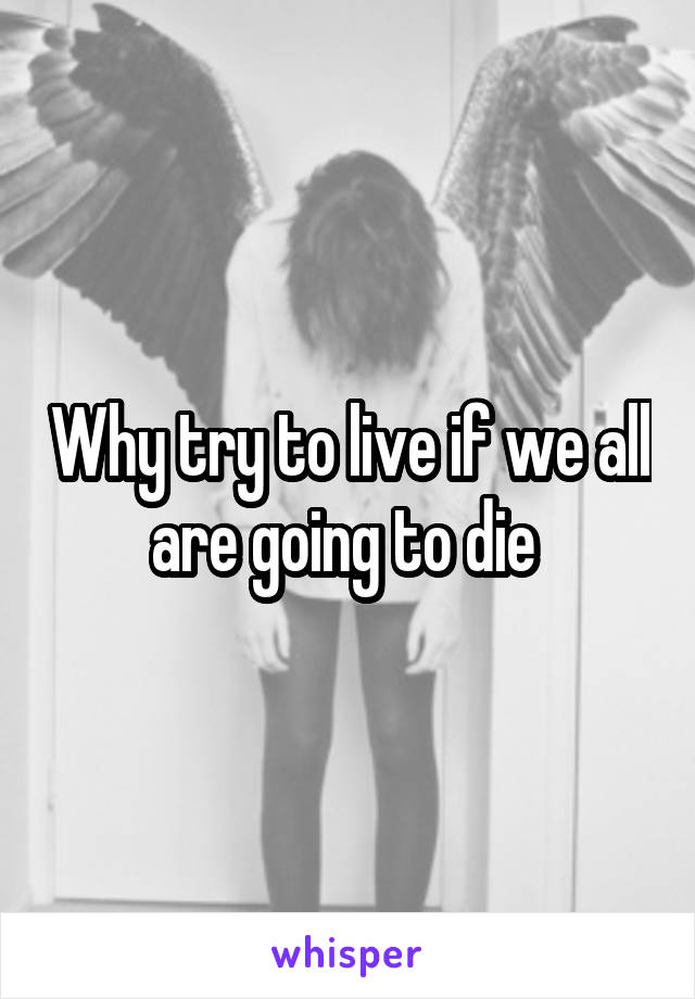 Why try to live if we all are going to die