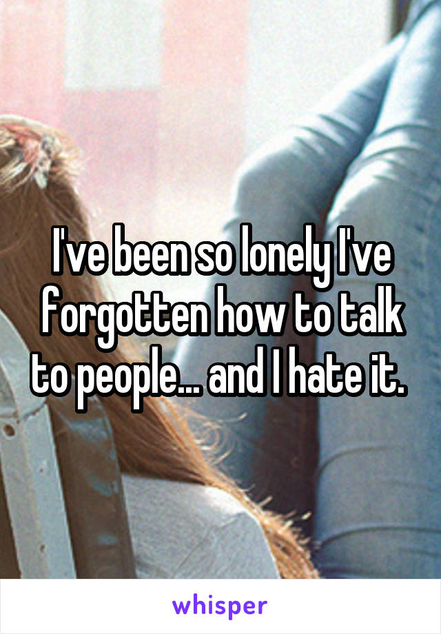 I've been so lonely I've forgotten how to talk to people... and I hate it.