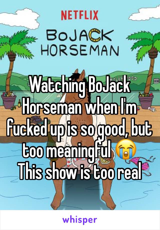 Watching BoJack Horseman when I'm fucked up is so good, but too meaningful 😭 This show is too real