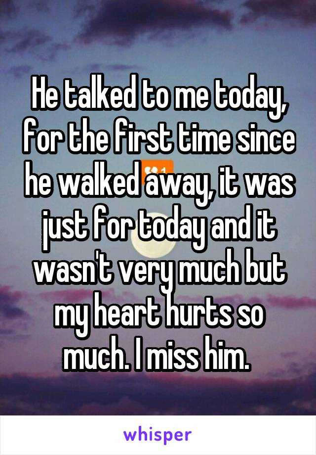 He talked to me today, for the first time since he walked away, it was just for today and it wasn't very much but my heart hurts so much. I miss him.