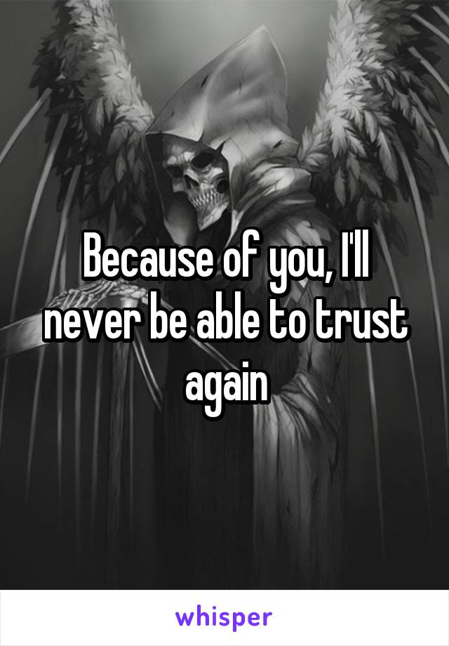 Because of you, I'll never be able to trust again