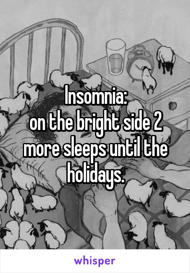Insomnia: on the bright side 2 more sleeps until the holidays.
