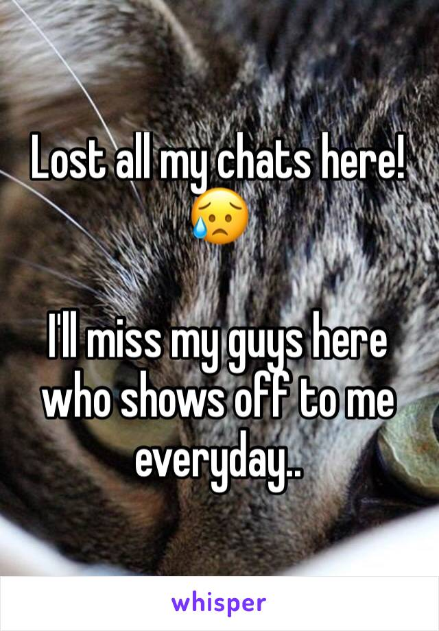 Lost all my chats here! 😥  I'll miss my guys here who shows off to me everyday..