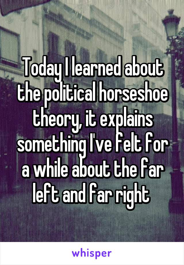 Today I learned about the political horseshoe theory, it explains something I've felt for a while about the far left and far right