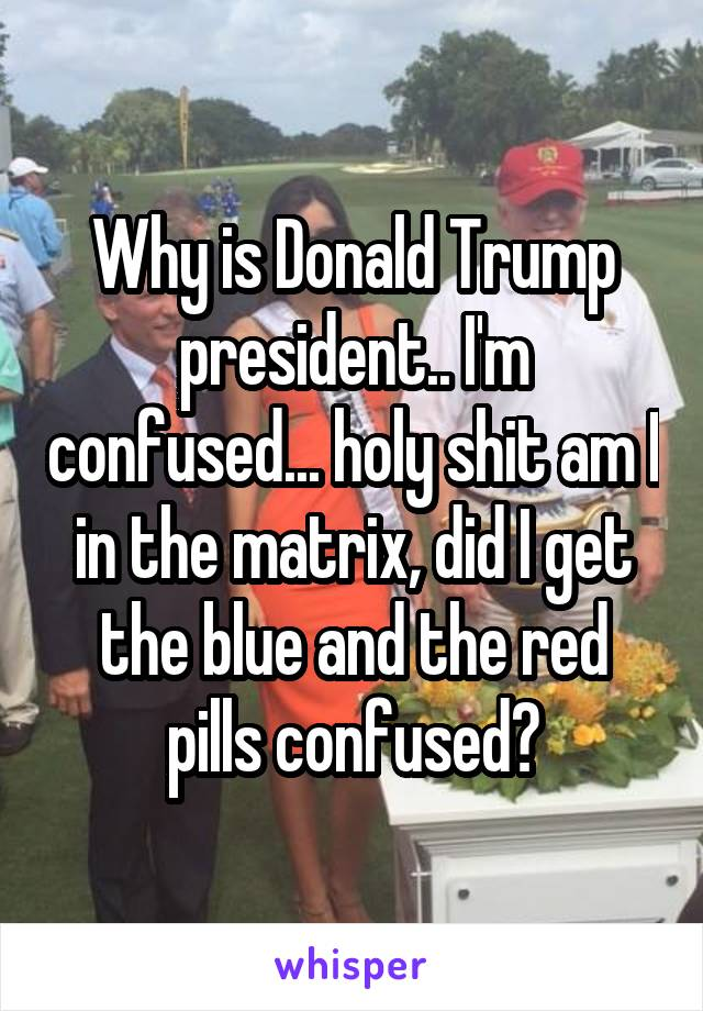 Why is Donald Trump president.. I'm confused... holy shit am I in the matrix, did I get the blue and the red pills confused?