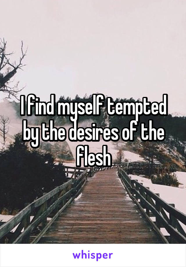 I find myself tempted by the desires of the flesh