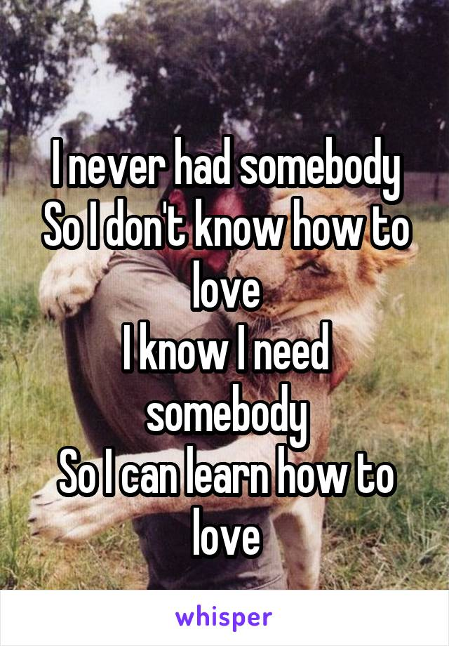 I never had somebody So I don't know how to love I know I need somebody So I can learn how to love