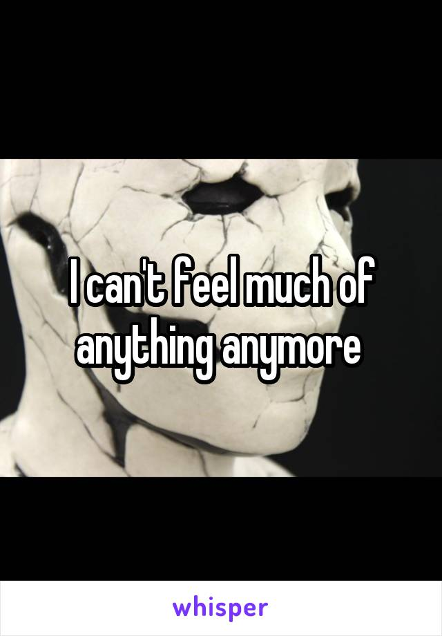 I can't feel much of anything anymore