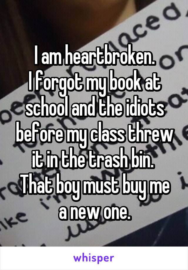 I am heartbroken. I forgot my book at school and the idiots before my class threw it in the trash bin.  That boy must buy me a new one.