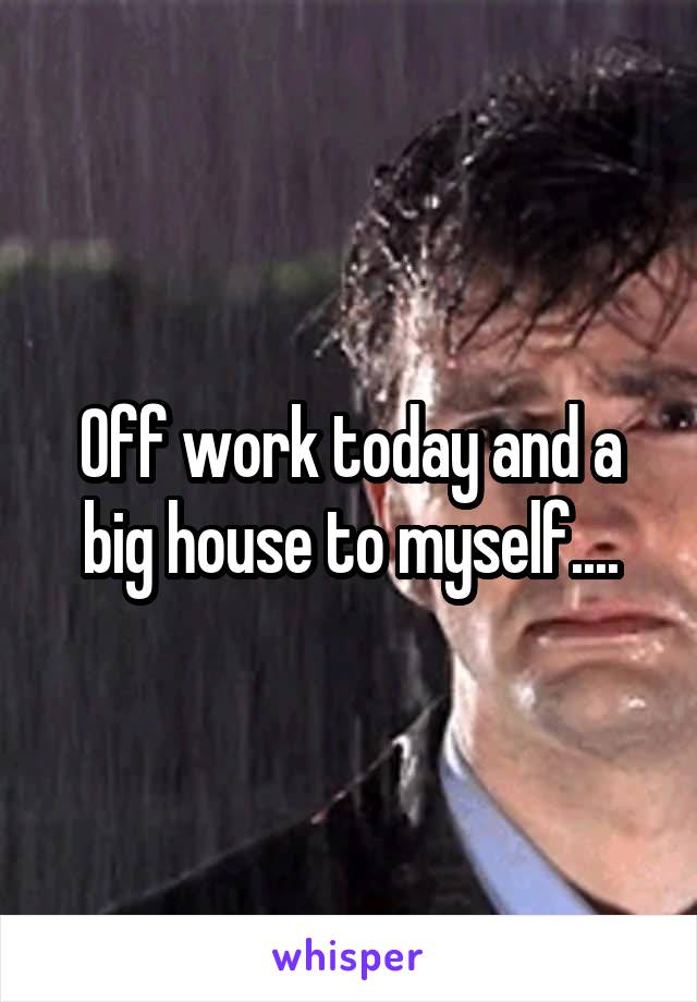 Off work today and a big house to myself....