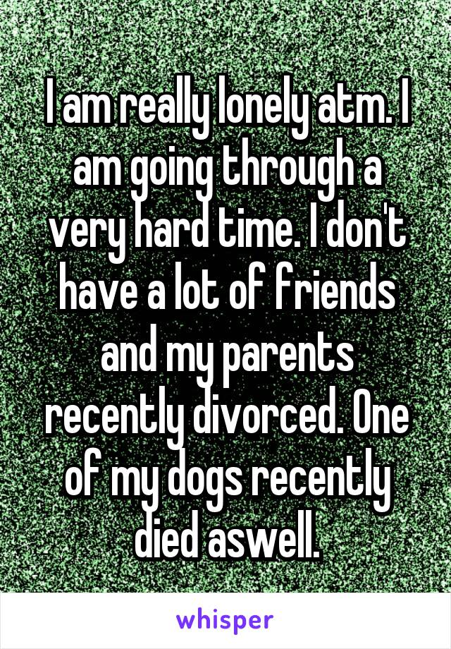 I am really lonely atm. I am going through a very hard time. I don't have a lot of friends and my parents recently divorced. One of my dogs recently died aswell.