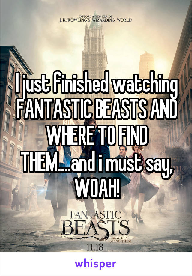 I just finished watching FANTASTIC BEASTS AND WHERE TO FIND THEM....and i must say, WOAH!