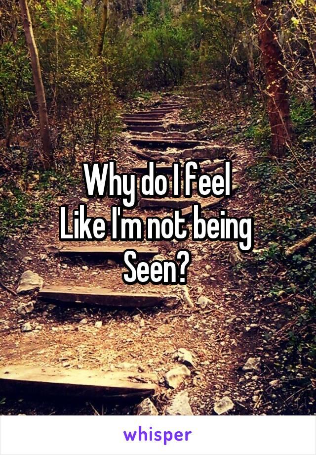 Why do I feel  Like I'm not being  Seen?