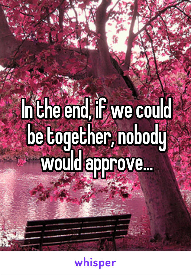 In the end, if we could be together, nobody would approve...