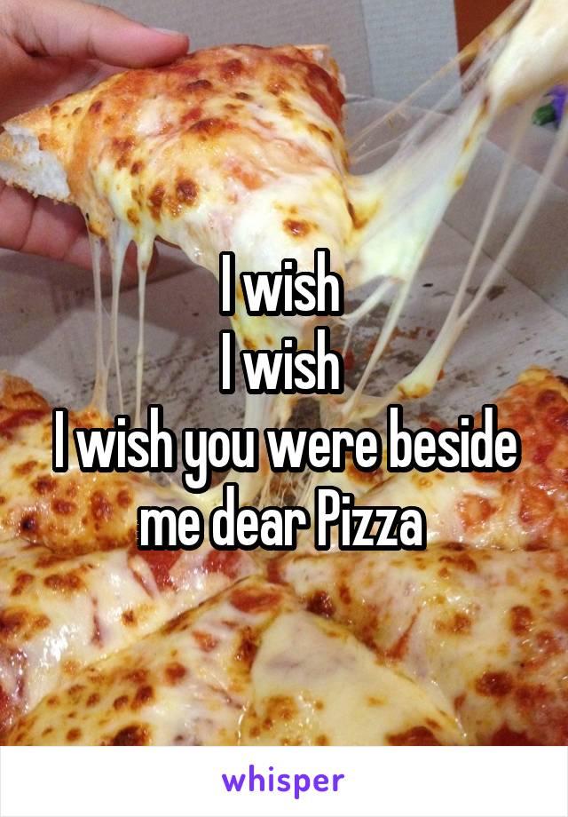 I wish  I wish  I wish you were beside me dear Pizza