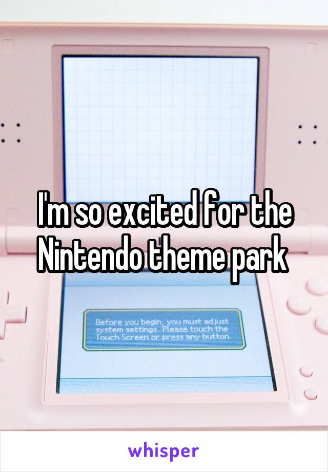I'm so excited for the Nintendo theme park
