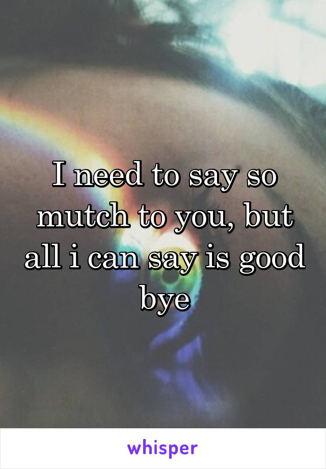 I need to say so mutch to you, but all i can say is good bye