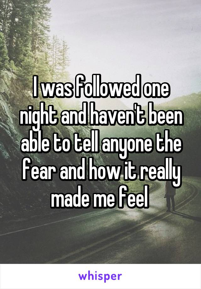 I was followed one night and haven't been able to tell anyone the fear and how it really made me feel