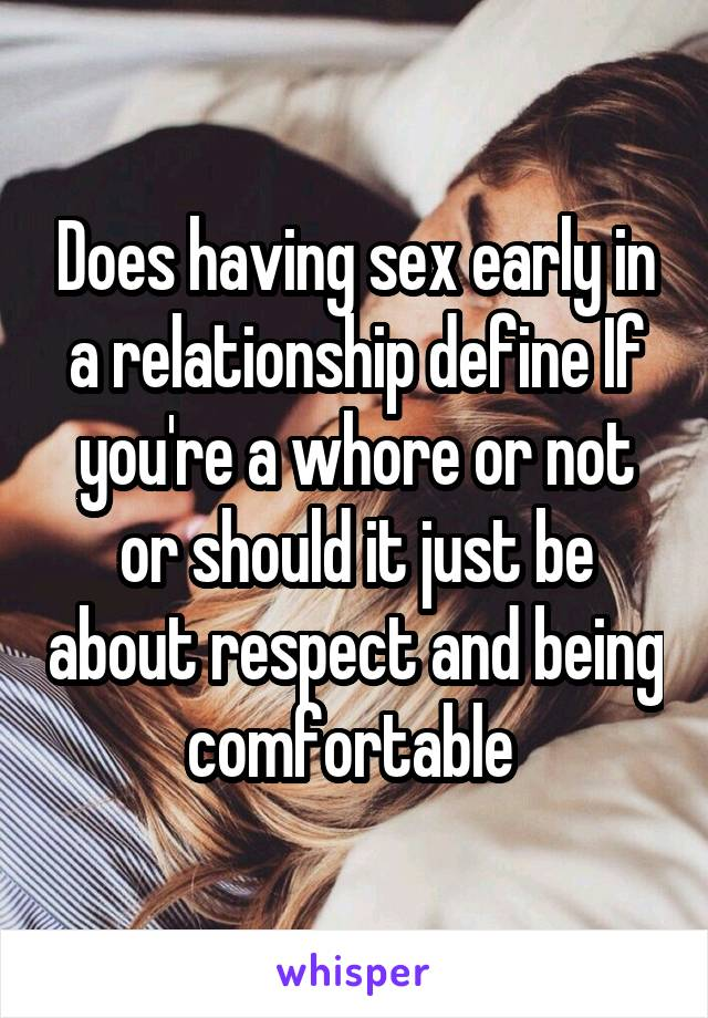 Having sex early in a relationship