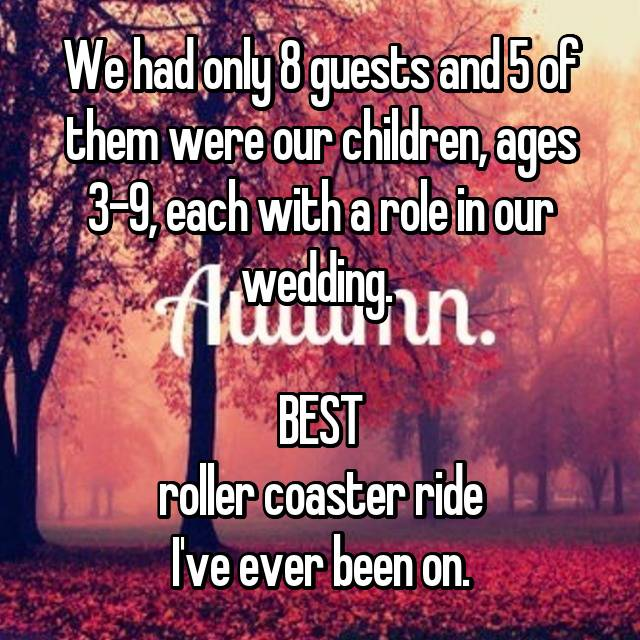 We had only 8 guests and 5 of them were our children, ages 3-9, each with a role in our wedding.   BEST roller coaster ride I've ever been on.