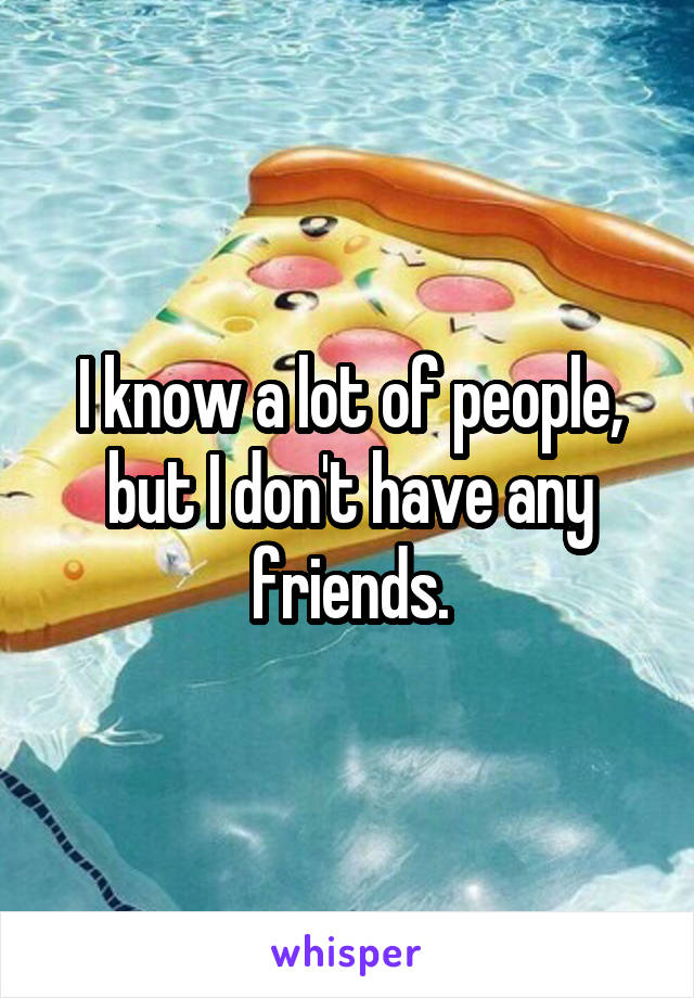 I know a lot of people, but I don't have any friends.