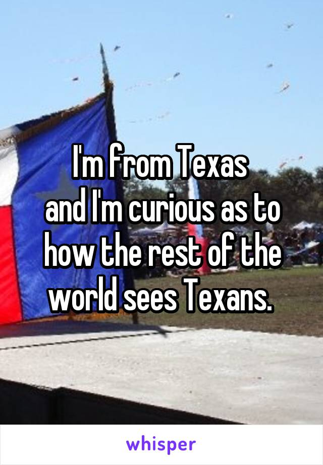 I'm from Texas  and I'm curious as to how the rest of the world sees Texans.