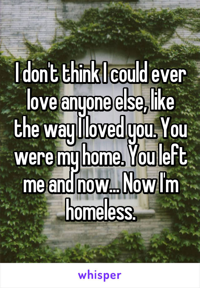 I don't think I could ever love anyone else, like the way I loved you. You were my home. You left me and now... Now I'm homeless.