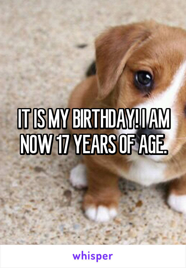 IT IS MY BIRTHDAY! I AM NOW 17 YEARS OF AGE.