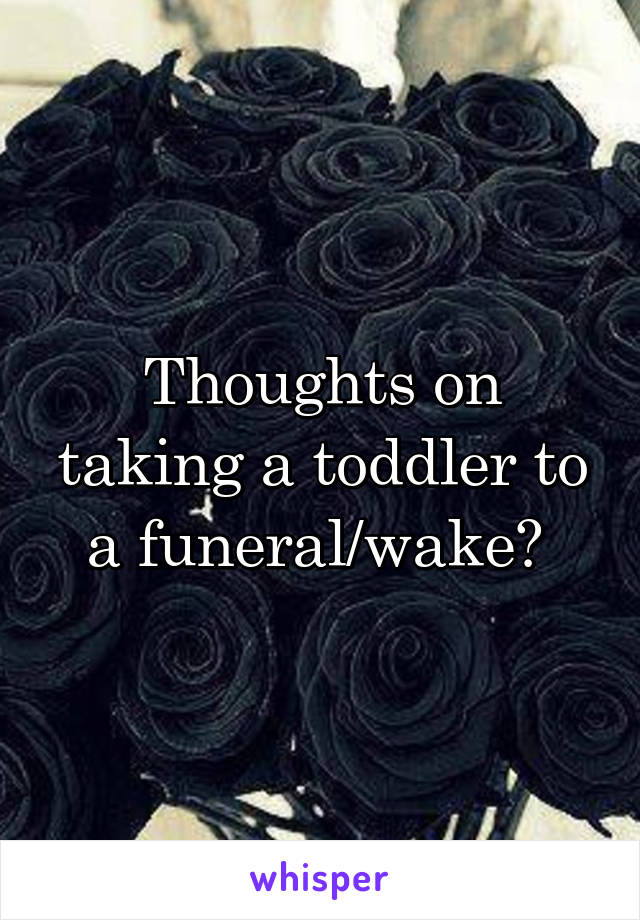 Thoughts on taking a toddler to a funeral/wake?