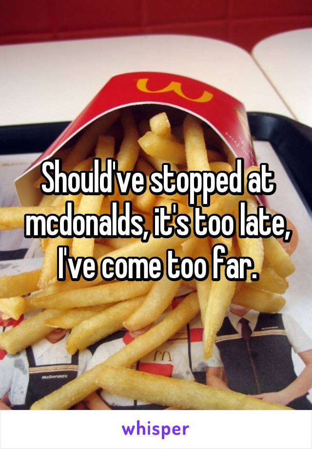 Should've stopped at mcdonalds, it's too late, I've come too far.