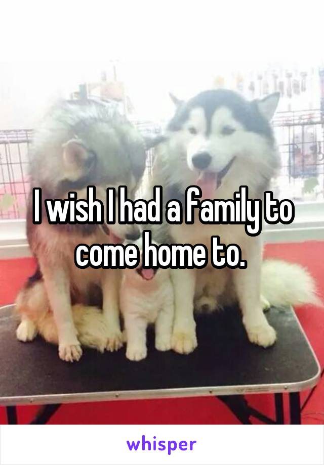 I wish I had a family to come home to.