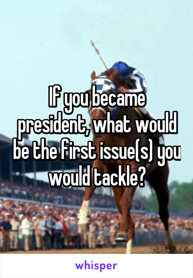 If you became president, what would be the first issue(s) you would tackle?