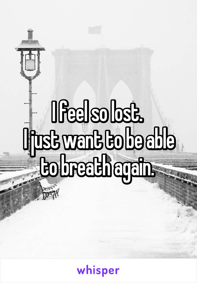 I feel so lost.  I just want to be able to breath again.