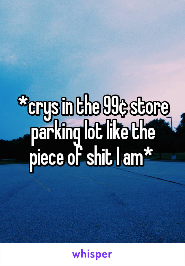 *crys in the 99¢ store parking lot like the piece of shit I am*