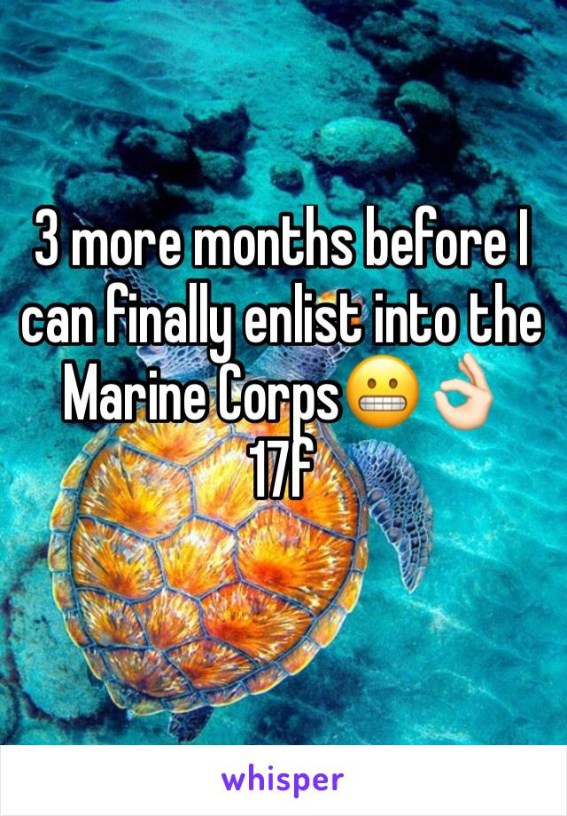 3 more months before I can finally enlist into the Marine Corps😬👌🏻 17f