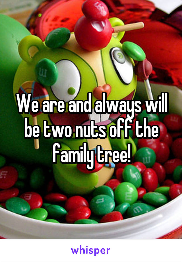 We are and always will be two nuts off the family tree!