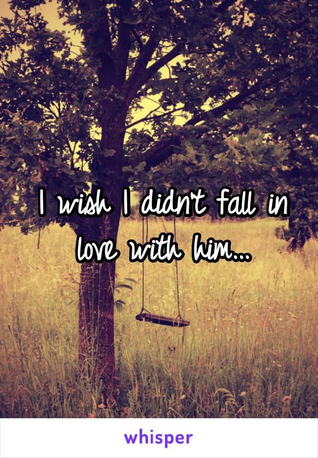 I wish I didn't fall in love with him...