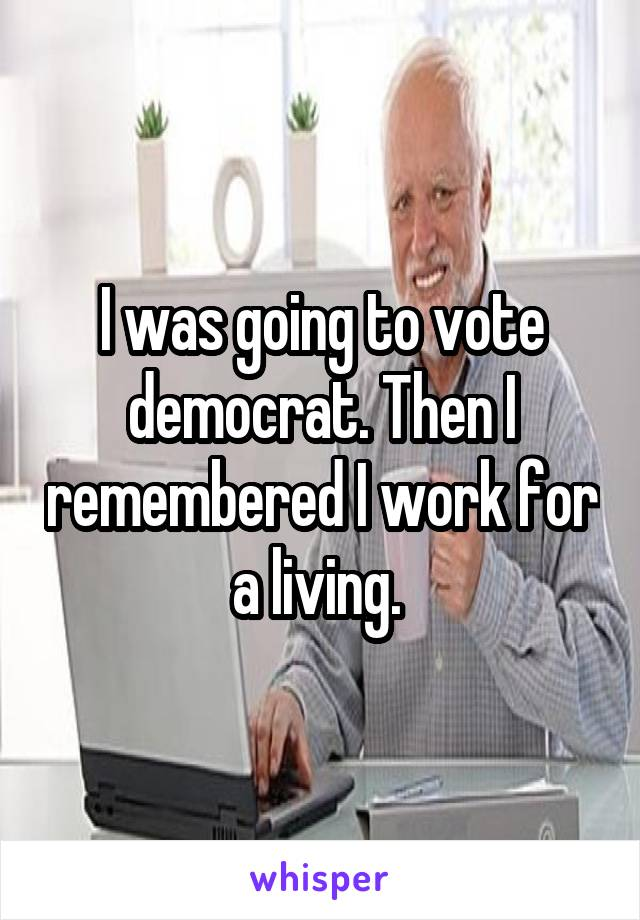 I was going to vote democrat. Then I remembered I work for a living.