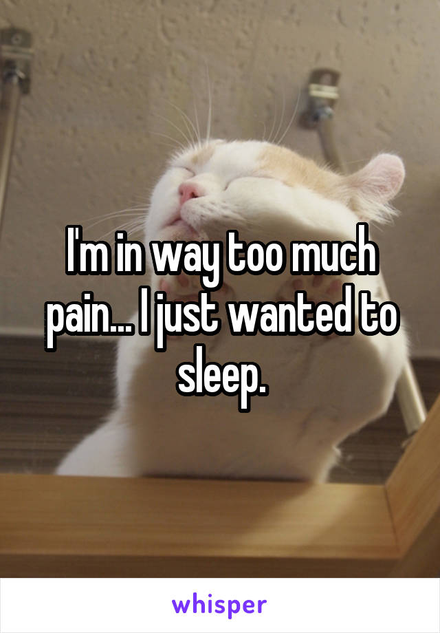 I'm in way too much pain... I just wanted to sleep.